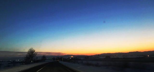 北海道「冬の夕方」
